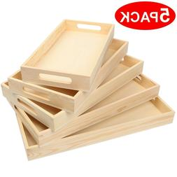 5 Sizes Vintage Food Serving Trays Nesting Wooden Board Farm