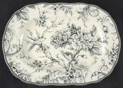 """222 Fifth ADELAIDE GREY & WHITE 14"""" Oval Serving Platter 983"""