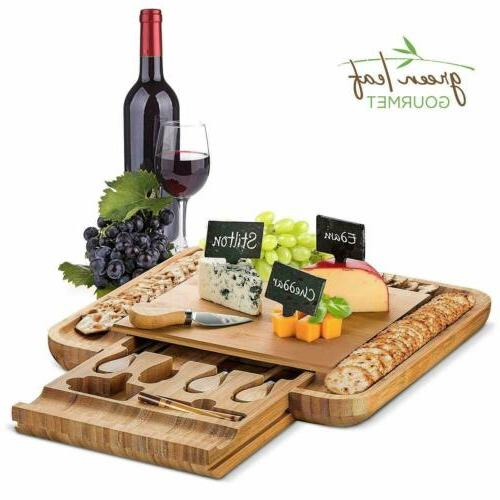 bamboo cheese board with cutlery set wooden