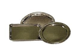 Nickel-plated Metal Serving Tray Set of 3 with Decorative Ed