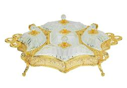 Sectional Serving Tray w/ 5 Snack Dish Dip Bowls - Filigree