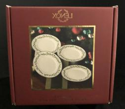 """Set of 4 Lenox Holiday Holly Berry 6"""" Party Plates w/ Origin"""